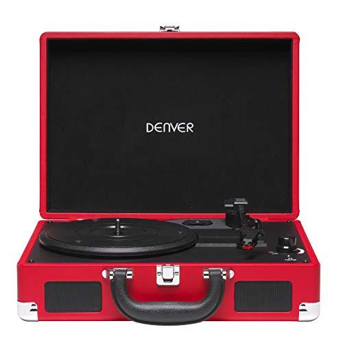 Tocadiscos Denver VPL-118RED de Tres velocidades 33 1/3,45,78 RPM. Altavoces 2...