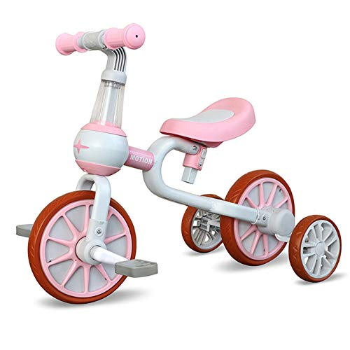 3 in 1 Kids Tricycles for 1 - 4 Years Old Kids with Detachable Pedal and Training Wheels | Baby Balance Bike Riding Toys for 2 Year Old Boys Girls | Infant Toddler First Birthday New Year Pink
