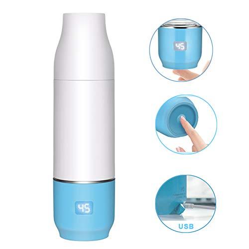 Rabbfay USB Aus Tragbar Baby Flaschenwärmer Mit Eingebaut 2550Mah Lithium Batterie, Reise Flasche Wärmer Elektrisch Baby Milch Wärmer Multifunktional Essen Wärmer,Blau