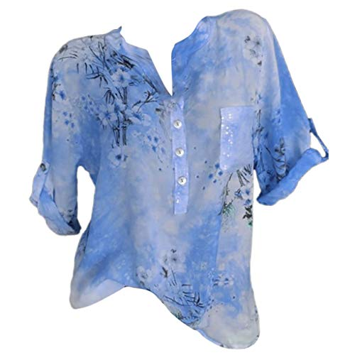Zegeey Damen T-Shirt GroßE GrößEn Blumendruck Schulterfrei Schicker Elegant LäSsige Lose Oberteil Bluse Pullover Tops Shirt Hemd(C-Blau,46 DE/4XL CN)