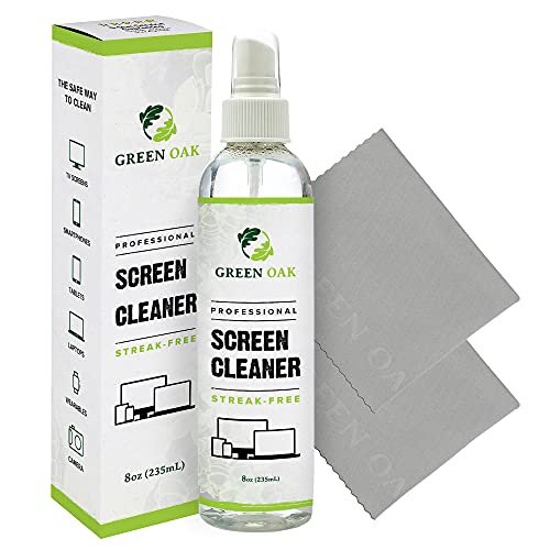 Screen Cleaner – Green Oak Screen Cleaner Spray for LCD, LED, TVs, Laptops, Tablets, Monitors, Phones, and Other Electronic Screens - Gently Cleans Fingerprints, Dust, Oil (8oz)