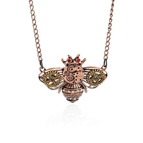 YAZILIND Mujeres Punk Vintage gótico cráneo ala Pulpo búho pájaro Mariposa Abeja Insecto Cadena suéter Colgante Colgante Abeja Ajustable Abeja