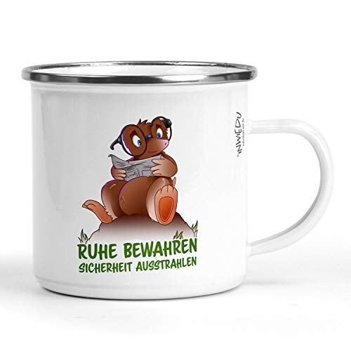 INWIEDU - Emaille Becher Maulwurf Archimedes mit Spruch: Ruhe bewahren, Sicherheit ausstrahlen - Metall 300 ml - Ø 80 H 80 mm - Camping Tasse Kaffee Tee