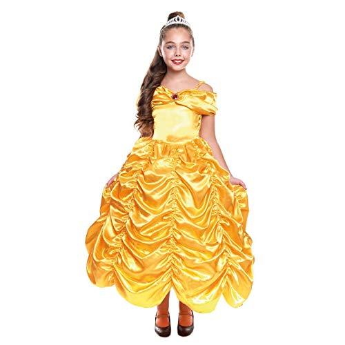Disfraz Princesa Bella Niña Vestido Dorado 【Talla Infantil 3 a 12 años】[Talla 10-12 años| Traje Cosplay Princesa Fantasía para Fiestas Carnaval Halloween Cumpleaños