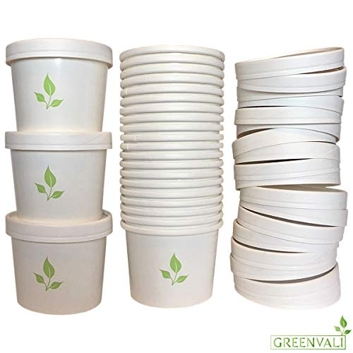 [100 Pack] Disposable Paper Soup Cup with Lid - 12oz Take Out Containers, Soup, Ice Cream, Hot or Cold