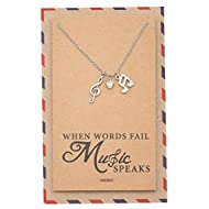 Quan Jewelry Music Note Necklace, Treble Clef Necklace, Best Musical Jewelry Gift for Music Lovers, 16 to 18 inches