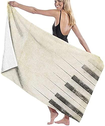 Telo Mare Grande 130 ×80cm, Tasti di pianoforte retrò,Asciugamano da Spiaggia in Microfibra Asciugatura Rapida,Ultra Morbido,Uomo,Donna,Bambina