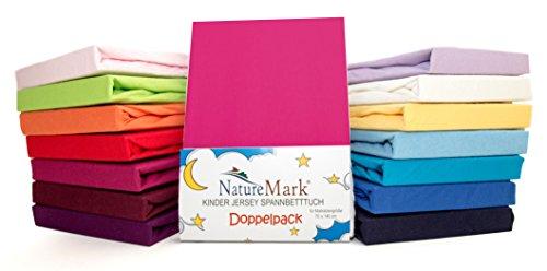 2er Sparpack Kinder Spannbettlaken Jersey 100% Baumwolle für Kinderbettmatratzen ÖKO Tex Geprüft- Gr. 70 x 140 cm, Pink / Magenta