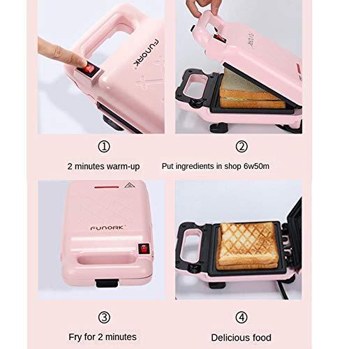 YGGY Sandwichera tostadora Pan de Hierro Tostada Máquina de Desayuno Waffle Panqueque Hornear Sartén Gas Antiadherente Calefacción de Doble Cara, Verde