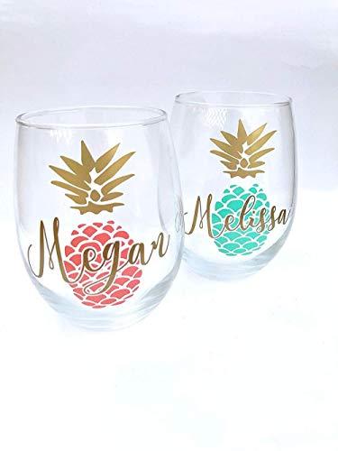 Copas de vino / té de piña personalizadas Regalo de piña Copas de vino / té de piña Amante de la piña Regalos de piña obsesionados con la piña Juego de 2 piñas
