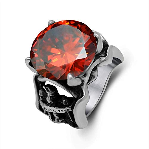 NA Stainless Steel Rings for Men Engraved Red Stone Ring Punk Red Black Silver Ring Size 7-12