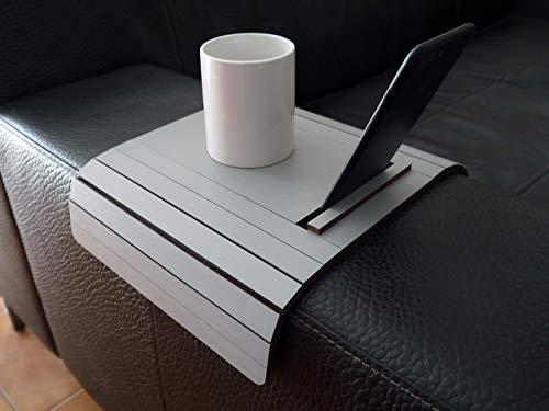 Mini tavolino laterale da bracciolo divano in legno con supporto telefono e ebook reader personalizzabile grigio sasso Piccolo vassoio colorato lato poltrona per salotto moderno Tavolini soggiorno