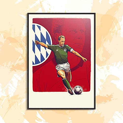 Yiwuyishi Póster de Estrella de fútbol de Estilo Americano, Pintura al óleo, póster en Lienzo, decoración para Sala de Estar, colección de Ventiladores, 50x70 cm P-1112