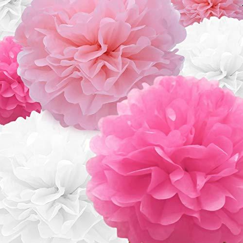 Seidenpapier PomPoms Papierblume 22 Stk. Rosa, rosarote, weiße Papierblume Ball zum Geburtstag Bachelorette Hochzeit Babyparty Brautparty Party Dekoration