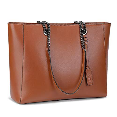 S-ZONE 15.6-Inch Women Fashion Genuine Leather Large Work Tote Bag Shoulder Bag Fit up to Laptop Ladies Handbag