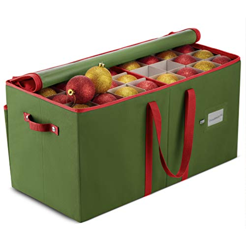 Large Christmas Ornament Storage Box with Dual Zipper Closure - Box Contributes Slots for 128 Holiday Ornaments 3-Inch, Xmas Decorations Accessories, Made of Nonwoven Tear-Proof Material