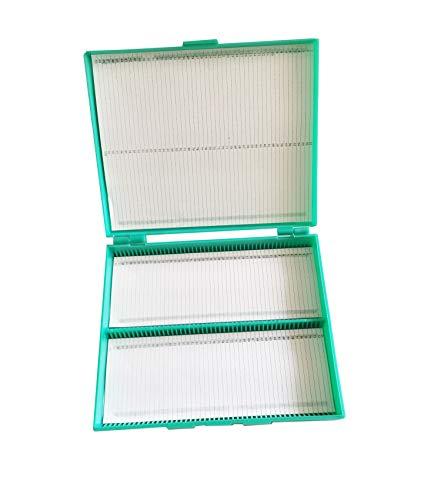 MUHWA Scientific 100 Places Plastic Microscope Slides Storage Box (Green)