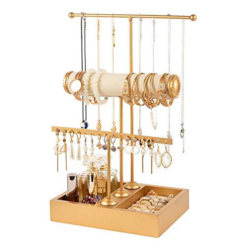 QILICHZ Jewelry Stand Holder 3 Tier Jewelry Tree Stand Jewelry Display Stand Tower Rack Necklace and Earring Holder T Bar Jewelry Hanger Tree for Jewelry Display (Gold)