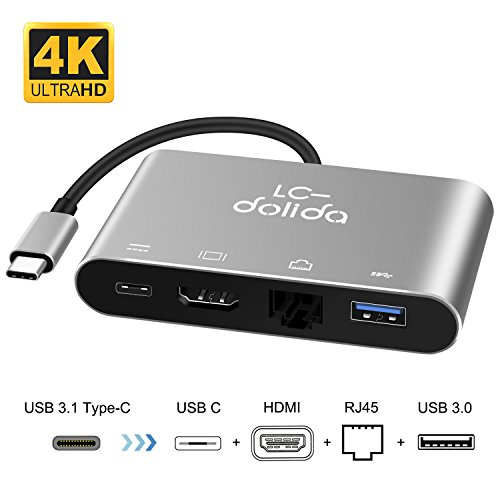 USB-C Hub USB 3.1 Type C USB C to HDMI 4K Adapter+Gigabit Ethernet(RJ45)+Power Delivery Charger+USB 3.0 Port Multilport Adaptor Converter for 2017 MacBook Pro/Samsung Galaxy S8/S8 Plus, Plug and Play