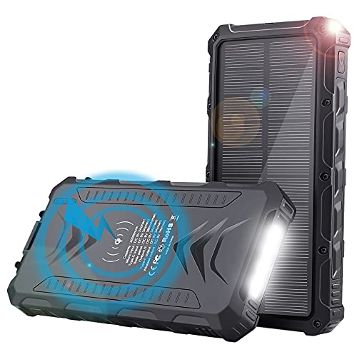 Solar Power Bank 20000mAh - Uplayteck Qi Wireless Portable Charger Fast Charge with 4 Outputs, USB C Outputs 5V/3A High-Speed - Rainproof Battery Bank for Hiking Camping Outing
