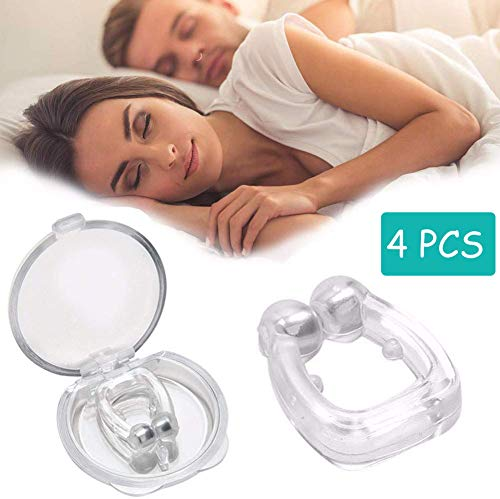 Anti Snoring Devices, Stop Snore Solution Transparent Magnetic Silicone Anti Snore Clip Snore Stopper, Comfortable & Professional Nose Vent Clips for Men & Women 4 PCS