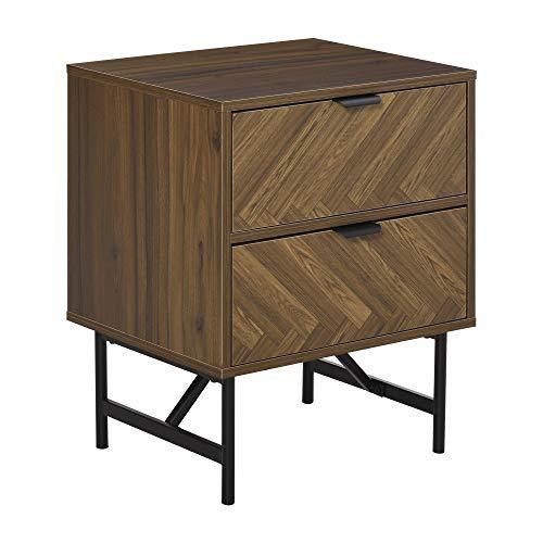 HOMCOM Two-Drawer Herringbone Pattern Bedside Table Home Side Cabinet Storage Unit w/Metal Handles Frame Organisation Furniture Stylish Living Room Walnut Brown