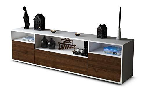 Stil.Zeit TV Schrank Lowboard Bionda, Korpus in Weiss matt/Front im Holz-Design Walnuss (180x49x35cm), mit Push-to-Open Technik und hochwertigen Leichtlaufschienen, Made in Germany