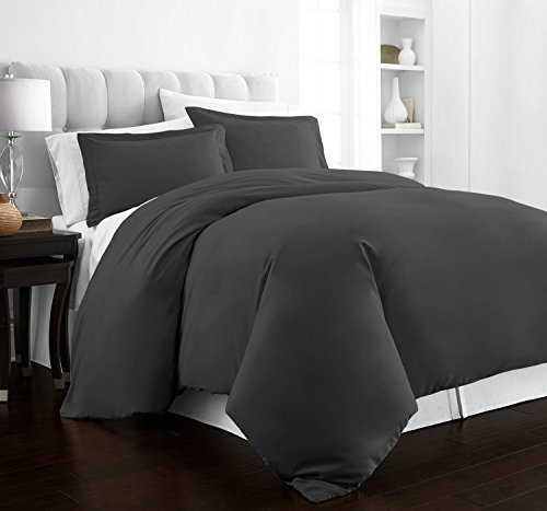 Beckham Hotel Collection Luxury Soft Brushed 2100 Series Microfiber Duvet Cover Set - Hypoallergenic - Full/Queen - Gray