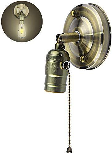 Bonlux E27 Support de Lampe Applique Murale Bronze Métal Vintage Rétro Edison Base de Plafond Suspendu E27 Douille de Lampe Accessoires Réglable à 180% avec Interrupteur (sans ampoule)