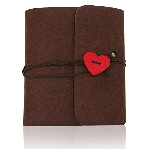 Photo Book Greenke DIY Scrapbook Hand Made Travel Scrapbook Felt Valentine Books Best Gift for Fathers Day Mothers Day Halloween Wedding Baby Journal (Brown, Small)