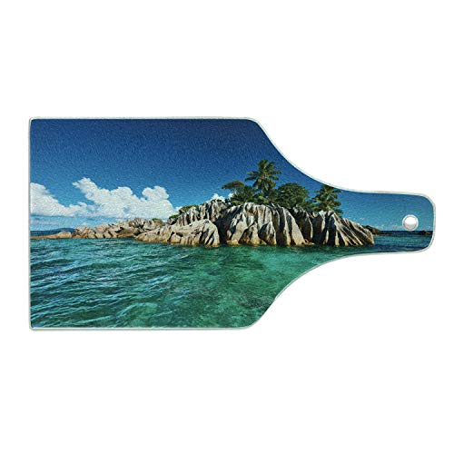 Lunarable Island Cutting Board, St. Pierre Island at Seychelles Natural Granite Relaxation Mediterranean, Tempered Glass Serving Board, Wine Bottle Shape, Medium Size, Jade Green