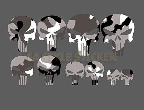 the Punisher 10 Aufkleber SCHWAZ WEIS Digitaldruck Aufkleber Set Motorrad Aufkleber Sticker skull tribal tattoo motive