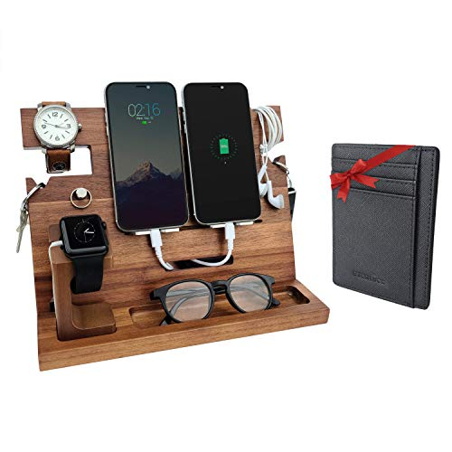 Eterluck Wooden Docking Station Men, Nightstand Organizer Bundle w/ RFID Blocking Leather Wallet - Charging Station, Cell Phone Stand, Tablet Stand, Husband Gifts from Wife, for Dad - Walnut