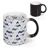 11 Oz Magic Heat Changing Coffee Mug, Abstract Ikat Chevron with Hazy Zigzag Folk Traditional Image Novelty Color Changing Mugs Funny Ceramic Morning Coffee Mug Cup Birthday Gifts