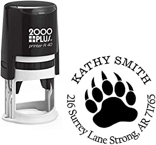 StampExpression - Bear Paw Custom Return Address Stamp - Self Inking. Personalized Rubber Stamp with Lines of Text (A-76043)