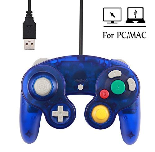 PC Controller,USB Wired Classic Gamepad for Windows PC MAC (USB Clear Blue2)