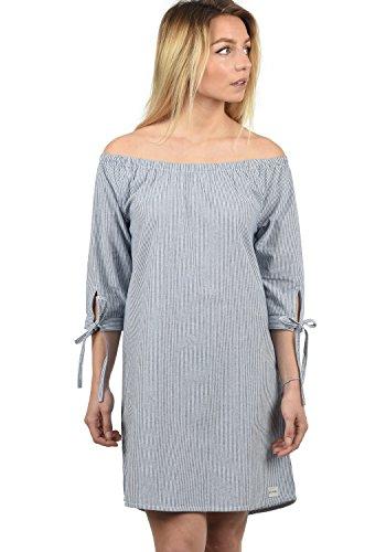 BlendShe Ophelia Damen Freizeitkleid Kleid Mit Off-Shoulder Carmen- Ausschnitt Aus 100% Baumwolle Knielang, Größe:XL, Farbe:Mood Indigo Stripe (20064)