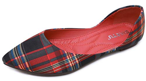 SAILING LU Womens Classic Pointy Toe Shoes Ballet Flats Plaid Flat Shoes for Work Slip On Moccasins Red 42