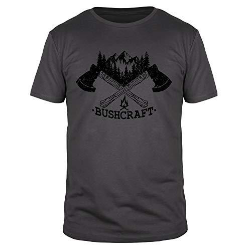 Bushcraft II - Fun Organic T-Shirt Herren, Größen S-3XL, Größe:2XL, Farbe:Anthrazit