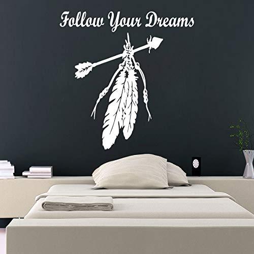 Geiqianjiumai Volg je dromen met prachtige muurstickers citeren veren en pijlen kunst muur muurschildering applique