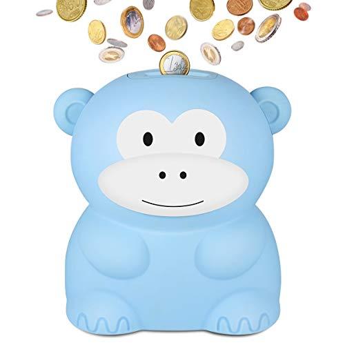 LarmTek Spardose mit Zähler,Süßes Affen Spardosen für Kinder oder Freunde,Sparschwein Benötigt 2 AA Batterien Nicht im Lieferumfang EnthaltenBlauer AFFE