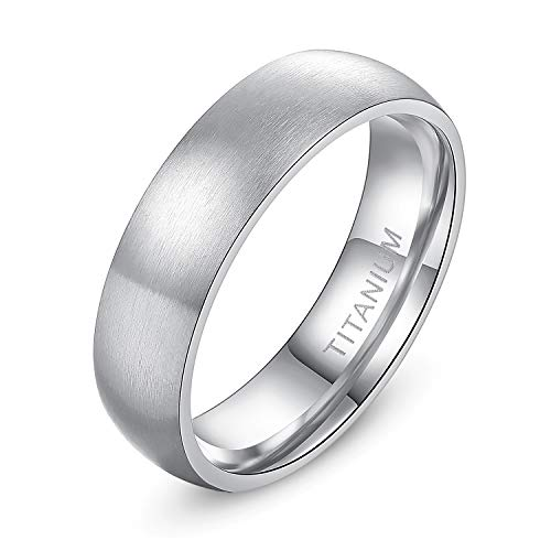 TIGRADE 4mm 6mm 8mm Titanium Ring Brushed Dome Wedding Band Comfort Fit Size 4-14,Silver, 6mm, Size 9