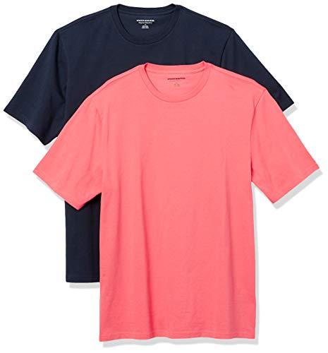 Amazon Essentials 2-Pack Regular-Fit Short-Sleeve Crewneck T-Shirt, Korallenrot / Dunkelblau, L