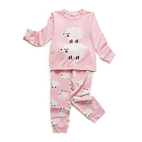Chickwin Dos Piezas Pijama Niño Niña 100% Algodón Larga Manga Pijamas Niños Pjs Impresión Ropa de Dormir Top +Pantalones 2-8 Años (Oveja,110cm)