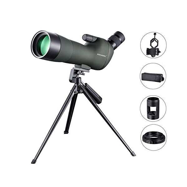 USCAMEL 20-60X60 Magnification Bird Watching Spotting Scope, Waterproof, Mobile Phone Camera Clip and Cannon Photography Kit, Suitable for Adults Bird Watching, Viewing, Start Watching