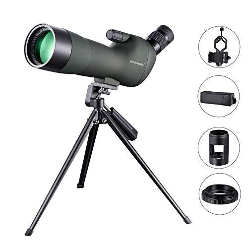 USCAMEL 20-60X60 Telescopio Terrestre Profesional de Porro ampliador, Clip de Cámara para Teléfono Móvil y Kit de...