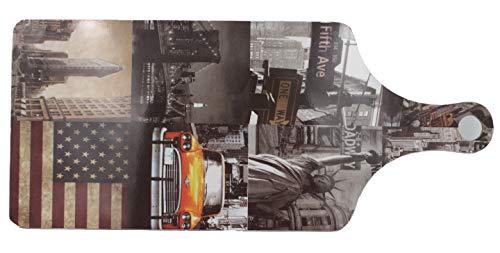 WBWT Frühstücks-Brett oder Schneide-Brett mit New York Flatiron Building USA-Flagge, 33x14cm, mehrere Motive zur Auswahl