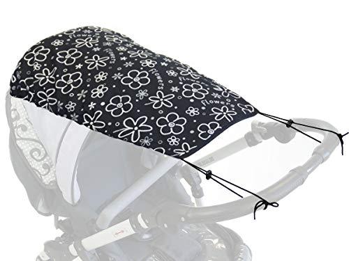 Universal Protección solar toldo para cochecitos Cubierta sol UV protector uva cochecito de bebé Toldos flexibles con moderno Flores blancas [105]