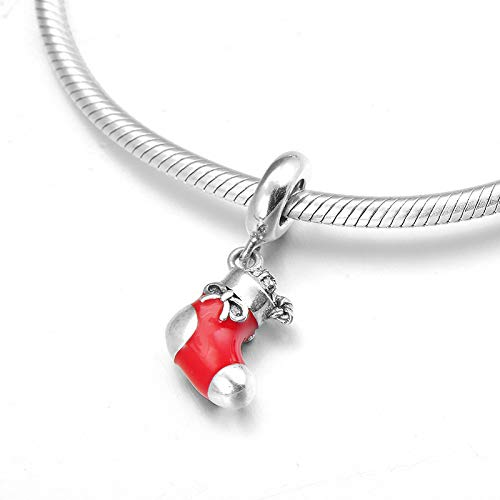 HGFRT Spacer Hohlperlen Weihnachten Rote Socken 925 Sterling Silber Feine Anhänger Perlen Für DIY Armbänder Halsketten Kleiner Charme Perlen