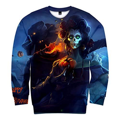 MAYOGO Halloween Unisex 3D Sweatshirt mit Rundhalskragen Halloween Horror Kostüm Casual Sweat Pulli...